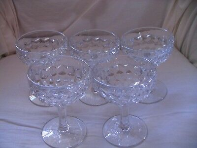 Lot of 5 Vintage Fostoria Cubist or Hexagon Pattern Champagne or Sherbet Glasses