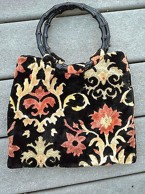 Vintage Tapestry Bag With Bamboo Design Handles made of Vintage Plastic