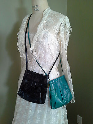Pair of 2 Vintage Andrea Carrano Leather Cross Over Bags Made in Italy