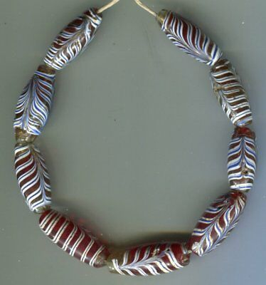 African Trade beads Vintage Venetian glass 9 old red feather beads