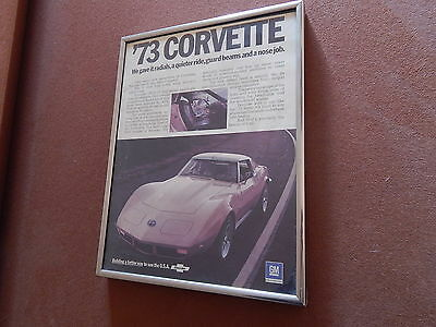 "VINTAGE 1973 CHEVROLET CORVETTE FRAMED ADVERTISEMENT 73 CHEVY AD 8 1/2"" x 11"""