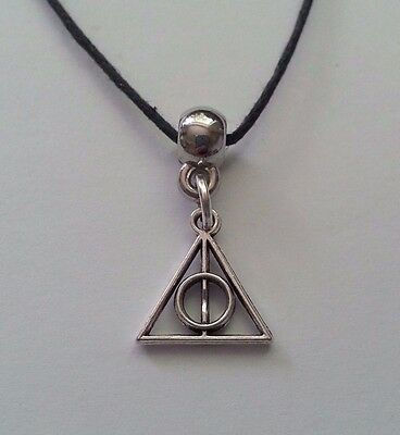 New Silver Alloy Harry Potter Deathly Hallows Mini Pendant Neck Cord Necklace ^^
