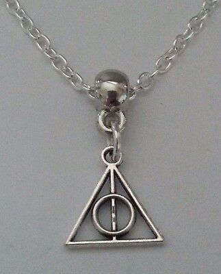 """New Silver Alloy Harry Potter Deathly Hallows Mini Pendant Necklace 18"""" Chain ^^"""