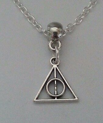 """New Silver Alloy Harry Potter Deathly Hallows Mini Pendant Necklace 18"""" Chain *"""