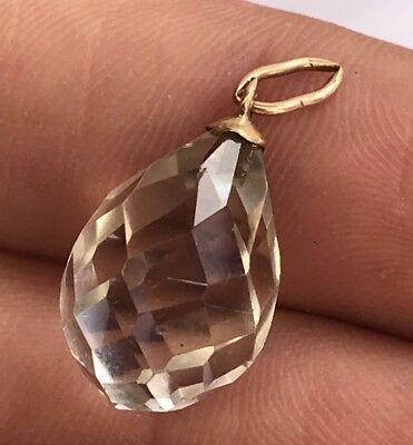 Antique Victorian 14k Rose Gold Faceted Pools of Light Rock Crystal Drop Pendant
