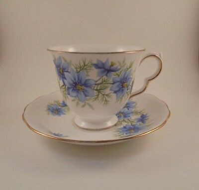 Queen Anne Footed Cup & Saucer #7878 Blue Flowers Gold Trim Bone China