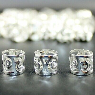 30x NEW STYLE Dreadlock Beads, Cuffs, Clips for Braids, Hair Extensions, Silver