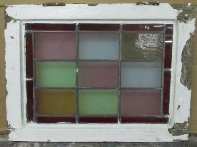 """OLD ENGLISH LEADED STAINED GLASS WINDOW Colorful Geometric 18.75"""" x 13.75"""""""