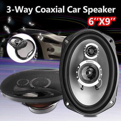 AU 2PC Car Coaxial Speakers 1000W 3 Way 6 X 9 Stereo Audio Marine Subwoofer 12V