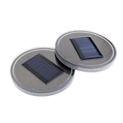 2pcs Red Solar LED Light Car Auto Water Cup Holder Bottom Mat Pad Acrylic