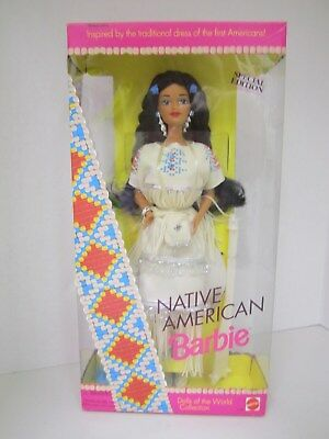 Native American Barbie - Dolls of the World Collection -1992 Mattel - Doll stand