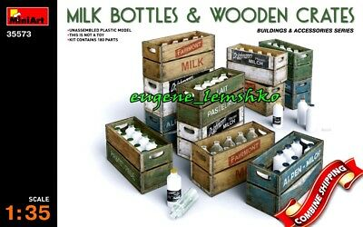 Miniart 35573 Milk Bottles & Wooden Crates (Buildings and Accessories) Kit 1/35