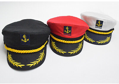 Adults Captain Hat Sea Marine Peaked Cap Sailor Fancy Dress Costume Accessory AU