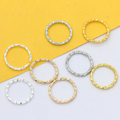 100p 8-20mm Gold Silver plated Twisted open Round Ring Jumprings connector craft