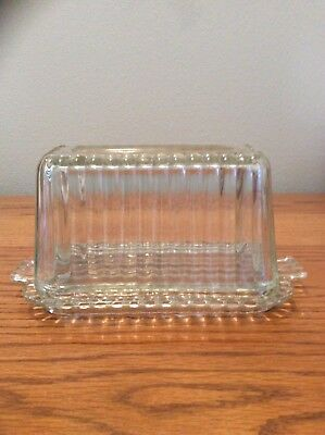 Vintage Clear Ruffled Ribbed Glass Butter Dish And Lid