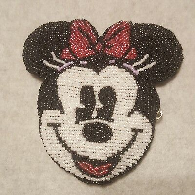 Disney Minnie Mouse Beaded Coin Wallet Make Up Bag Purse