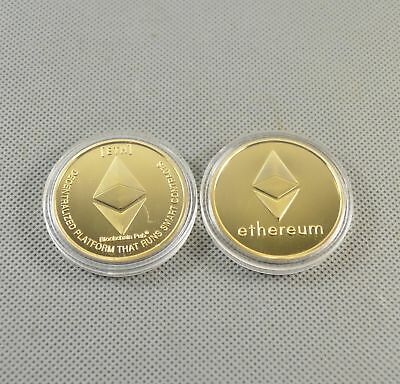 Gold Plated Commemorative Collectible Golden Iron ETH Ethereum Miner Coin NEW