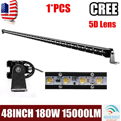 5D+ 48''Inch 180W Slim Single Row LED Light Bar Boat Truck DRL SUV Offroad 50/52