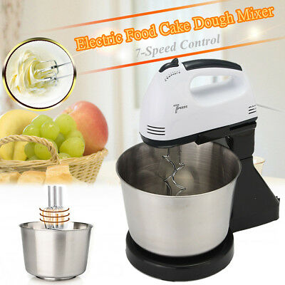 7 Speed Electric Handheld Beater Dough Cakes Bread Egg Stand Mixer + Free Bowl