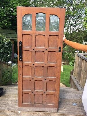 LARGE SOLID OAK FRONT DOOR ANTIQUE PERIOD OLD WOODEN RECLAIMED ARTS CRAFTS 1900s