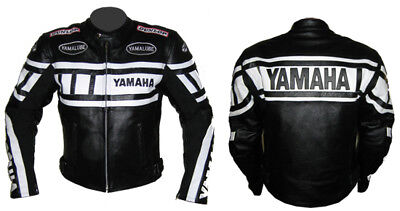 Yamaha New Style Black Leather Jacket Motorbike Racing Biker Jacket,Armour