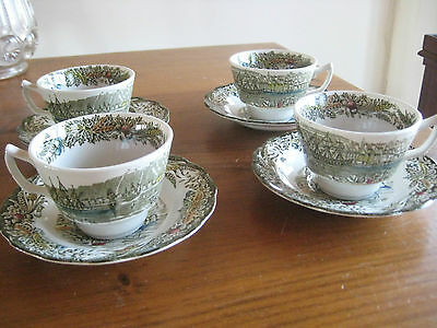 Vintage Ridgway China Heritage Pattern 4 Cups And Saucers