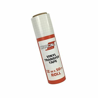 """Oracal 12"""" X 50' Feet Roll CLEAR Transfer Tape w/ Grid for Adhesive Vinyl 