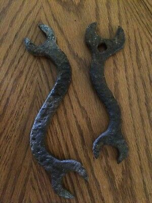Pair vintage hand Forged curvey wrenchs tool garage man cave decor Lamp Art Wall