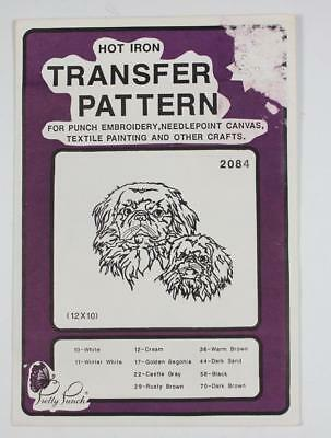 Pretty Punch Hot Iron Transfer Pattern #2084 Pekingese Dogs Embroidery