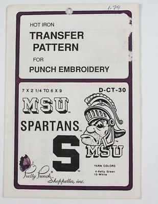 Pretty Punch Hot Iron Transfer Pattern #D-CT-30 MSU Spartans Embroidery 1987