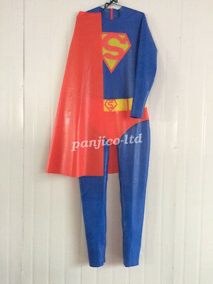 Latex Gummi Rubber CosplayGanzanzug Anzug Superman Catsuit Full BodySizeXXS~XXL