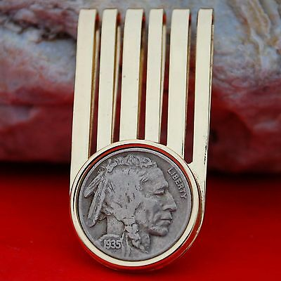US 1935 Indian Head Buffalo Nickel 5c gold-toned Money Clip NEW