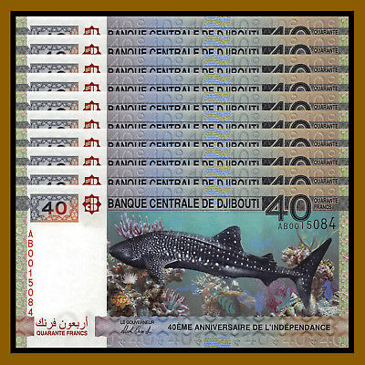 Djibouti 40 Francs x 10 Pcs, 2017 P-New Comm. 40th Anniversary of Independence