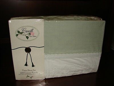 Croscill Coventry Check Twin Sheet Set 200 Luxury Percale NEW Green Yellow Lace