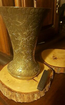Antique/Vintage Headstone or Ornate Floral Vase Heavy Brass Non Magnetic, India