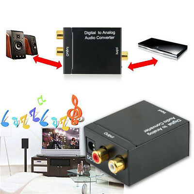Digital Optical Coax to Analog RCA L/R Audio Converter Adapter with Fiber Cable@