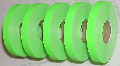 5 Rolls Genuine Avery Monarch 1110 Fluorescent Green Price Gun Labels + Ink Roll