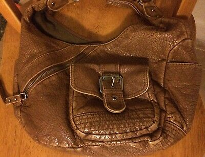 Sparrow True Vintage Inspired Handbag, Faux Leather Distressed Cognac Brown