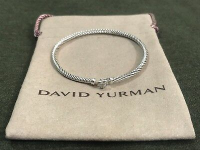 David Yurman Womens Cable Collectibles Heart Bracelet With Diamonds $475 Nwot