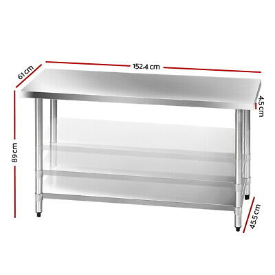 304 Stainless Steel Kitchen Food Prep Work Bench Table 1.5m Cooking Chef