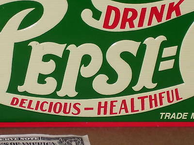 PEPSI Delicious Healthful - Red&Green GAS STATION - SCREEN DOOR SIGN - Old Style