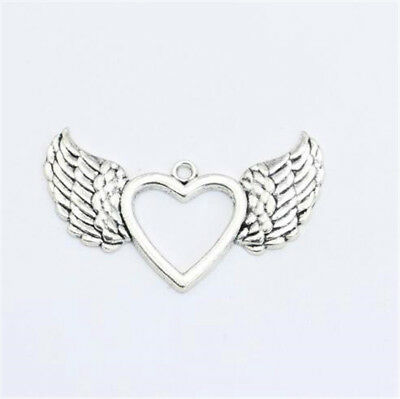 50pcs Tibetan Silver Nice Angel Wing Heart Charms Pendants 20x12mm