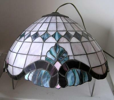 """Vintage Stunning Stained Glass Tiffany Lead Swag Lamp Light 20"""""""