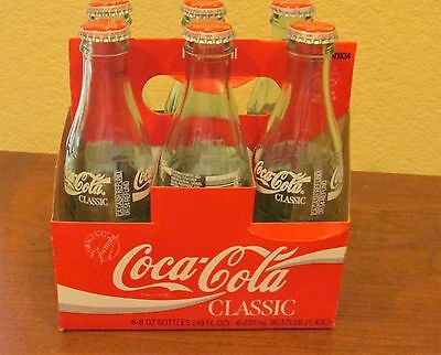 Vintage Six Pack Emptyglass Coca Cola Capped Bottles With Carry Carton