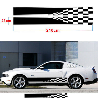 Racing Car Graphic Decal Sticker Sports Style Checkered Flag Stripe Cuttable DIY