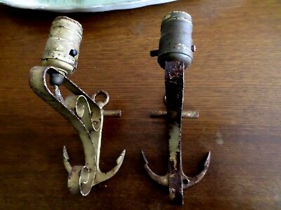 Pair Vintage Ship Anchor~ Nautical Wall Sconces~ Wrought Iron Light Lamp Fixture