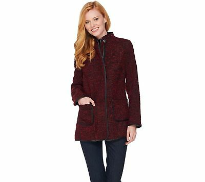 Susan Graver Boucle Zip Front Jacket Faux Leather Pckts Trim Wine 12 NEW A281163