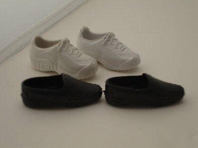 2 Pairs of Ken Doll Shoes White Tennis Shoes and Black Loafers USA Kids Gifts