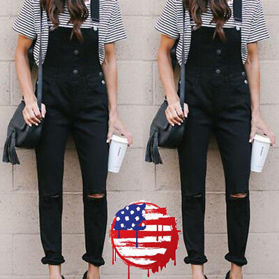 USA Women Slim Denim Jeans BIB Pants Overalls Straps Jumpsuit Rompers Trousers
