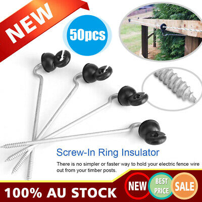 50x Electric Fence Timber Wood Post Insulators Screw In Offset Poly Wire Cord AU